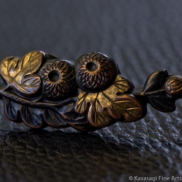 Antique Bronze Chrysanthemum Menuki