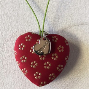 Japanese Inden Deerskin Cherry Blossoms Heart Charms
