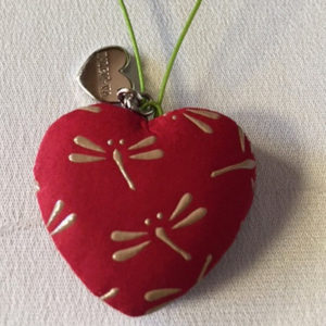 Japanese Inden Deerskin Dragonflies Heart Charms