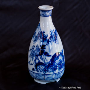 Early 20th Century Japanese Sometsuke Sake Bottle