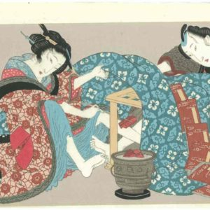 Eisen Erotic Woodblock Print By The Kotatsu Heater