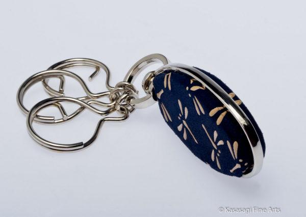 Japanese Inden Deerskin Key Rings Dragonflies on Navy