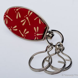 Japanese Inden Deerskin Key Rings Dragonflies on Red
