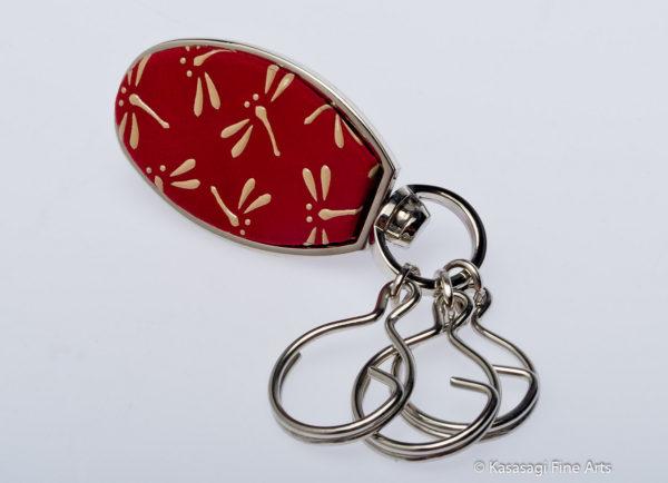 Japanese Inden Deerskin Key Rings Dragonflies on Red