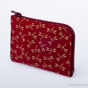 Japanese Deerskin Red Card Or Coin Holder Dragonflies