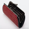 Japanese Deerskin Inden Red Double Clasp Purse With Cherry Blossoms