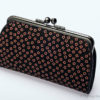 Japanese Deerskin Inden Black Double Clasp Purse Pink Cherry Blossoms