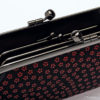 Japanese Deerskin Inden Black Double Clasp Purse Red Cherry Blossoms