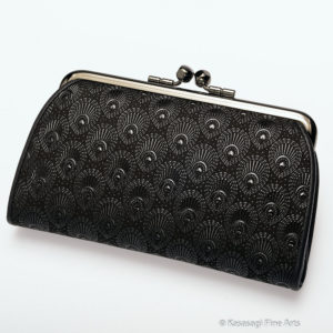Japanese Deerskin Inden Black Double Clasp Purse Peacock Feathers