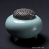 Japanese Celadon And Silver Reticulated Incense Burner