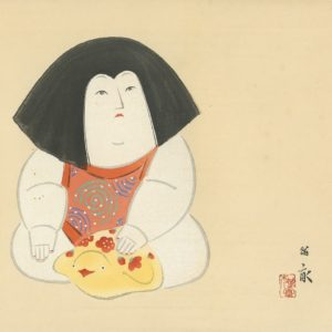 Nishizawa Tekiho Woodblock Print Gosho Doll And Duck