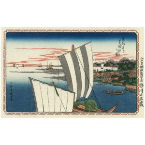 Hiroshige Woodblock Print Ebb Tide At Shibaura