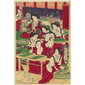 Original Kunisada Signed Woodblock Print Harvesting Silkworms