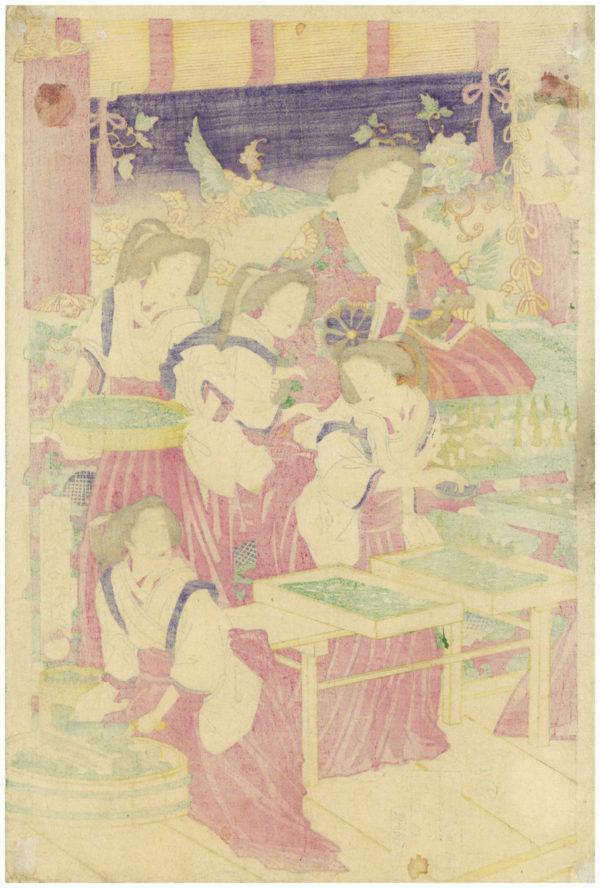 Original Kunisada Signed Woodblock Print Harvesting Silkworms