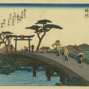 1930s Hiroshige Chuban Woodblock Print Station 27 Kakegawa