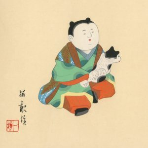 TEKIHO WOODBLOCK ART PANEL GOSHO DOLL AND CAT