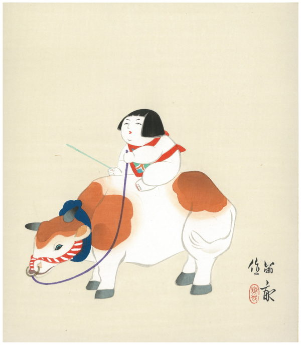 TEKIHO WOODBLOCK ART PANEL GOSHO DOLL AND COW