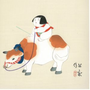 Tekiho Art Panel Woodblock Print Gosho Doll And Cow