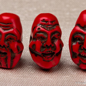 Red Coral Ojime Hand Carved Three Deities