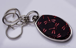 Premium Japanese Chrome And Deerskin Keyrings Dragonflies 1