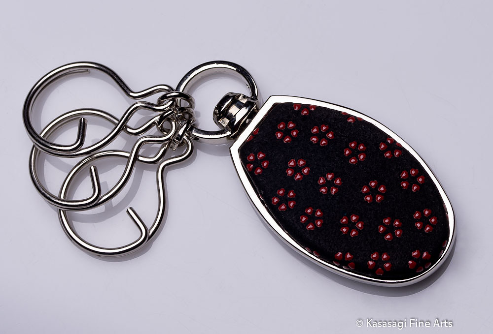 Premium Japanese Chrome And Deerskin Keyrings Cherry Blossoms