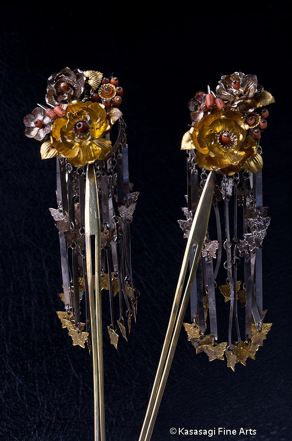 Antique Pair of Kanzashi Hair Ornaments