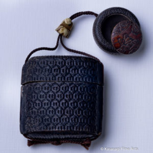 Antique Inro With Manju Netsuke And Articulated Ojime