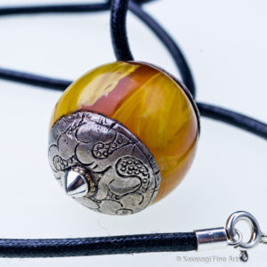 Tibetan Amber And Silver Pendant And Chain