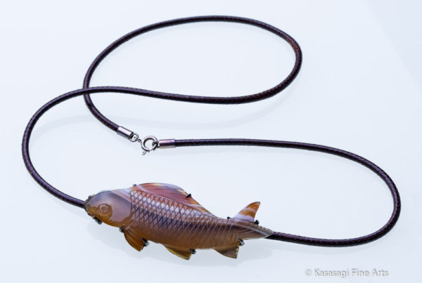 Vintage Agate Fish Pendant and Chain