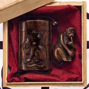 Three Case Cherry Wood Monkey Inro