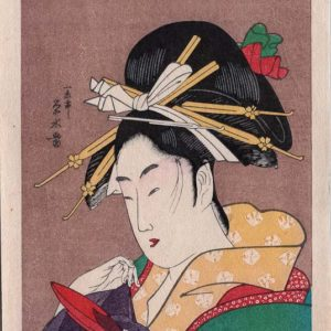 Two Eisen Miniature Woodblock Prints