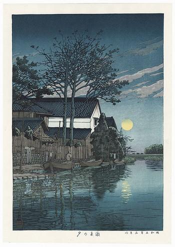 Hasui Woodblock Evening At Itako