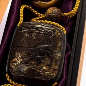 Antique Lacquer Dragon And Tiger Inro