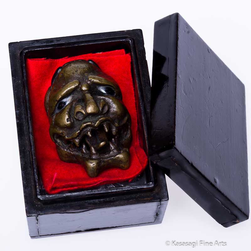 Antique Bronze Oni Demon Netsuke