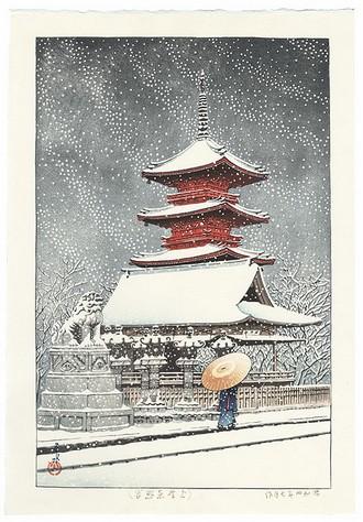 Hasui's striking depiction of the Ueno Park leading to the Toshogu shrine
