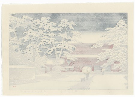 Hasui Woodblock Zojoji Temple in Snow