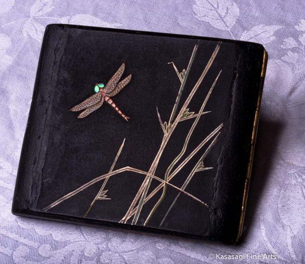Antique Damascene Shigarettokēsu Cigarette Case Dragonfly