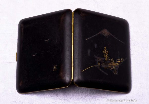 Antique Damascene Shigarettokēsu Cigarette Case Mt Fuji