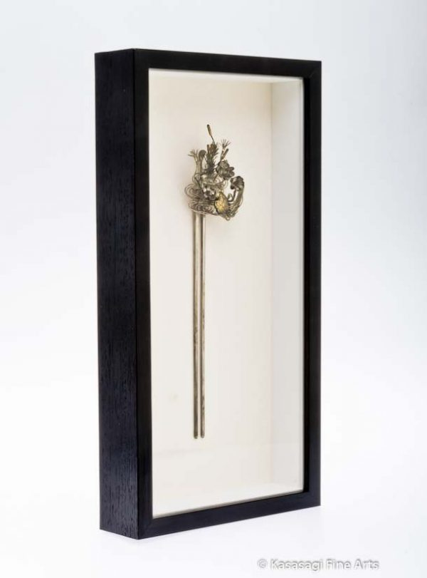Framed Antique Silver Kanzashi