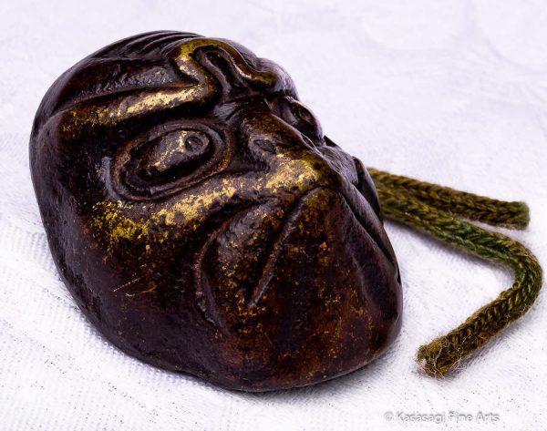 Bronze Kagura Mask Netsuke