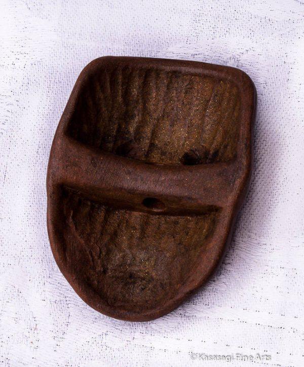 Bizen Yaki Okina Mask Netsuke