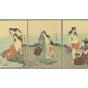 Utamaro Triptych Abalone Divers