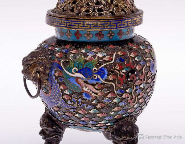 Antique Cloisonne Dragon Koro
