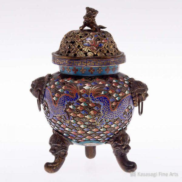 Antique Cloisonne Dragon Koro