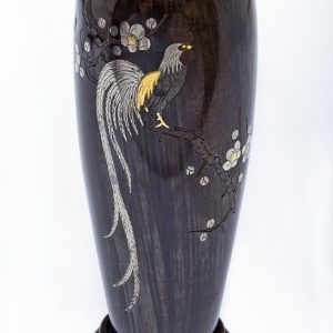 Gold And Silver Inlaid Onagadori Bud Vase