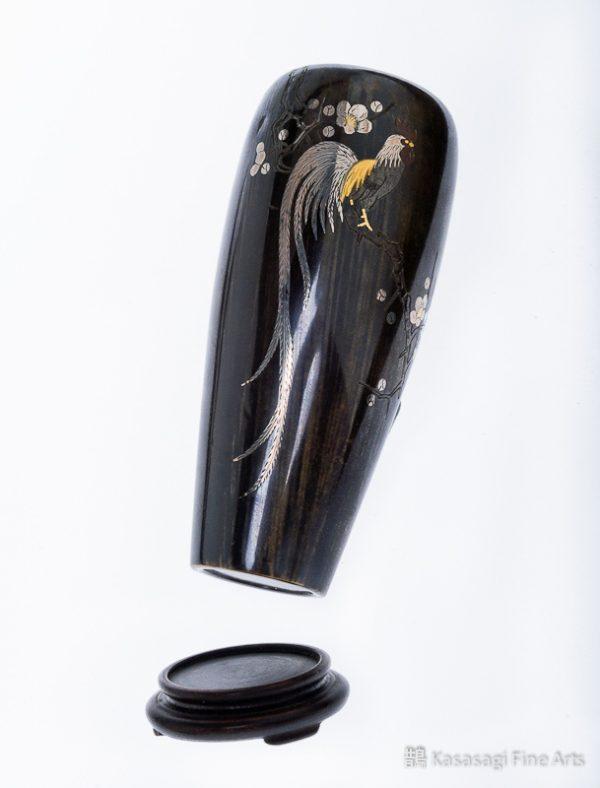 Gold And Silver Inlaid Onagadori Bud Vase