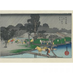 Hiroshige Woodblock Evening Shower At Tadasu Riverbank