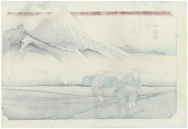 Mount Fuji in the Morning (Hara, Asa no Fuji), from the series Fifty-Three Stations of the Tōkaidō Road (Tōkaidō gojūsan tsugi), also known as the First Tōkaidō or Great Tōkaidō ca. 1833–34