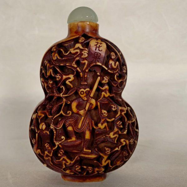 Carved Monkeys Snuff Bottle