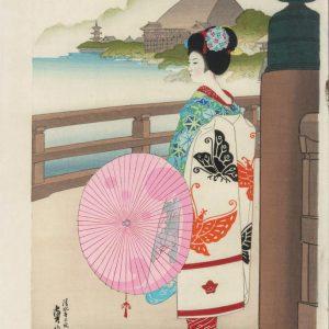 Hasegawa Woodblock Geisha Girl In Autumn
